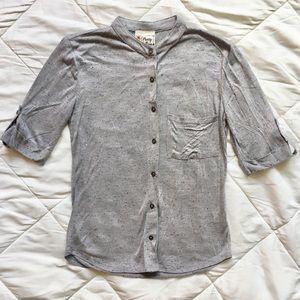 Gray Stretchy Soft Button Down Shirt